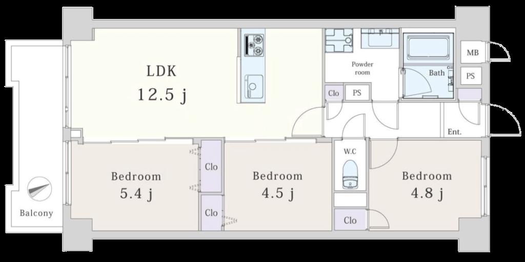 五反田リーラハイタウン502号室間取図