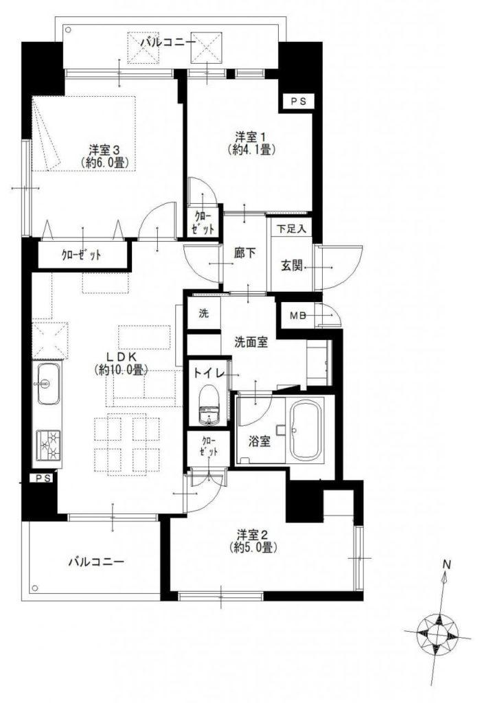 シティポート錦糸町Ⅱ802間取図